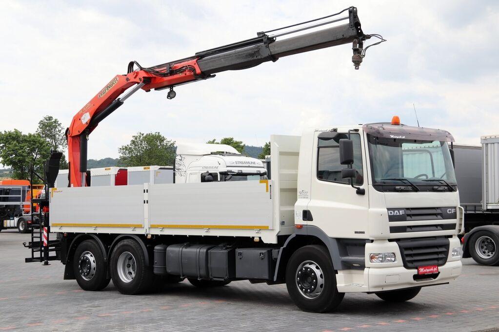 DAF CF 85.360 / 6X4 / PLATFORMA + MACARA/ TACHOG kamion s ravnom platformom