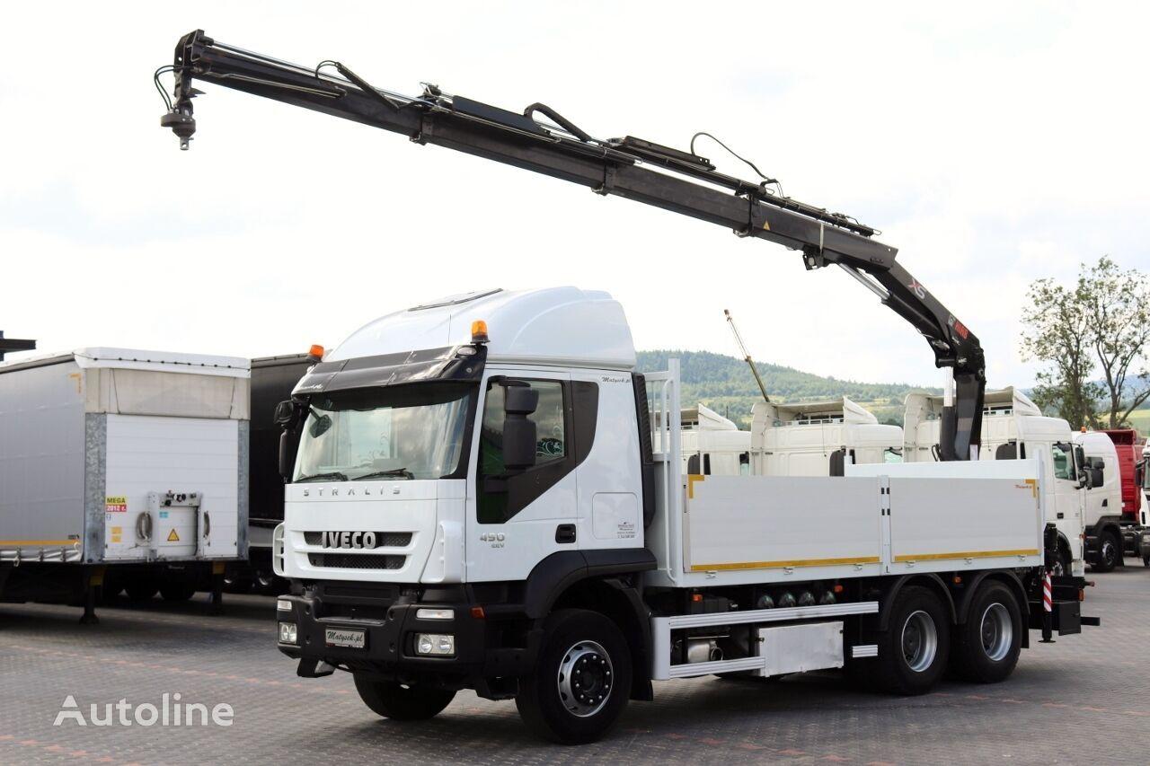 IVECO STRALIS 450 / 6X4 / PLATFORMA + MACARA HIAB 166 / RADIO COMMANDE kamion s ravnom platformom