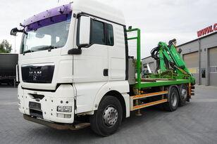 MAN TGX 26.440 XLX  ,E5 , steer axle , Crane Palfinger Epilson + rem kamion s ravnom platformom