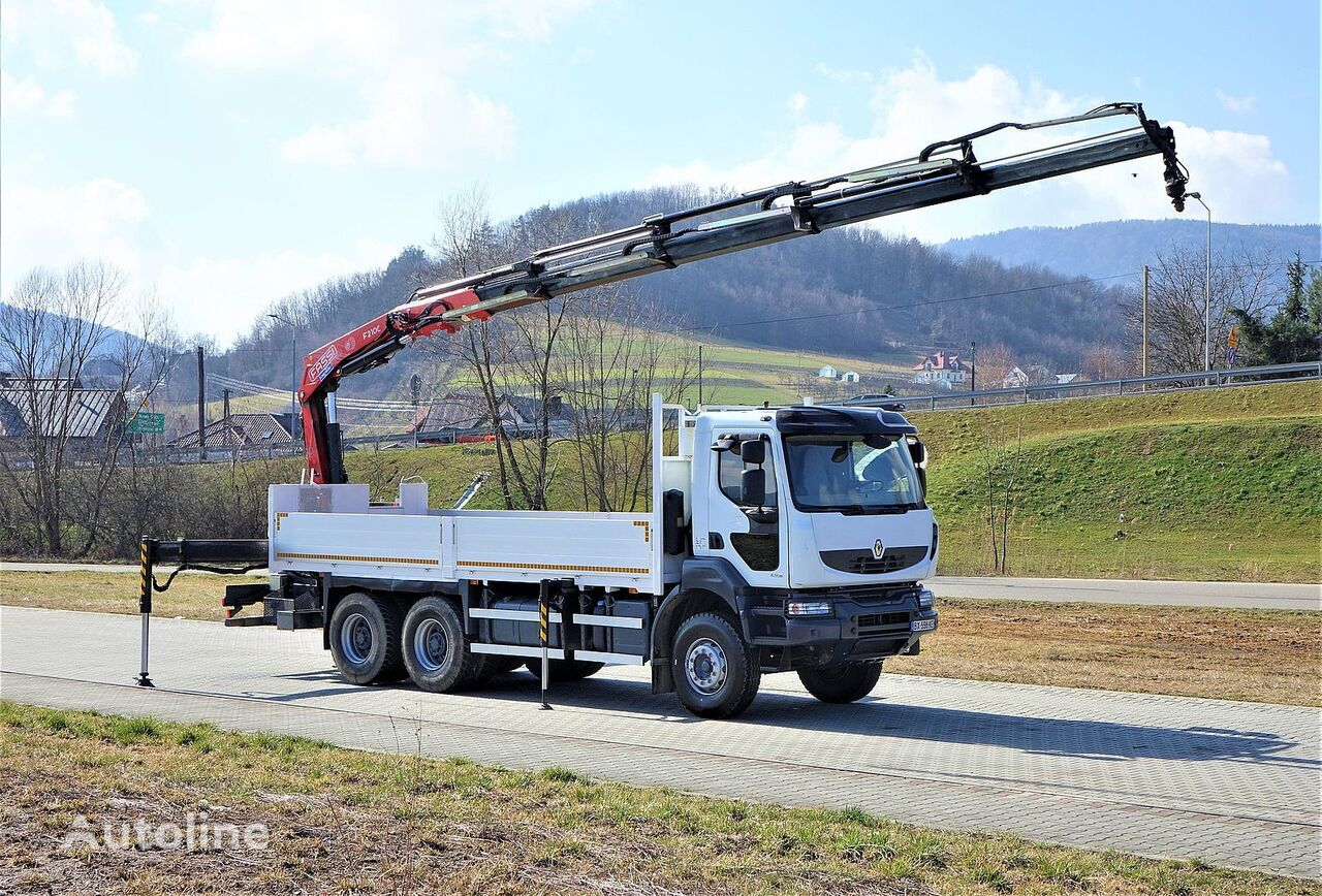 RENAULT Kerax 430 DXI*Pritsche 6,50m + Kran* Topzustand! kamion s ravnom platformom