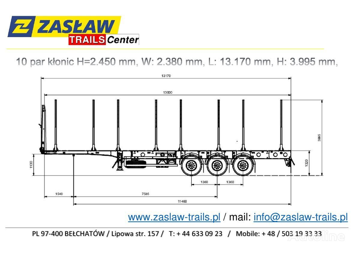 nova ZASLAW TRAILIS 4.600 kg / 10 par kłonic, naczepa LEŚNA LekkA zPLACU !! poluprikolica za prijevoz drva
